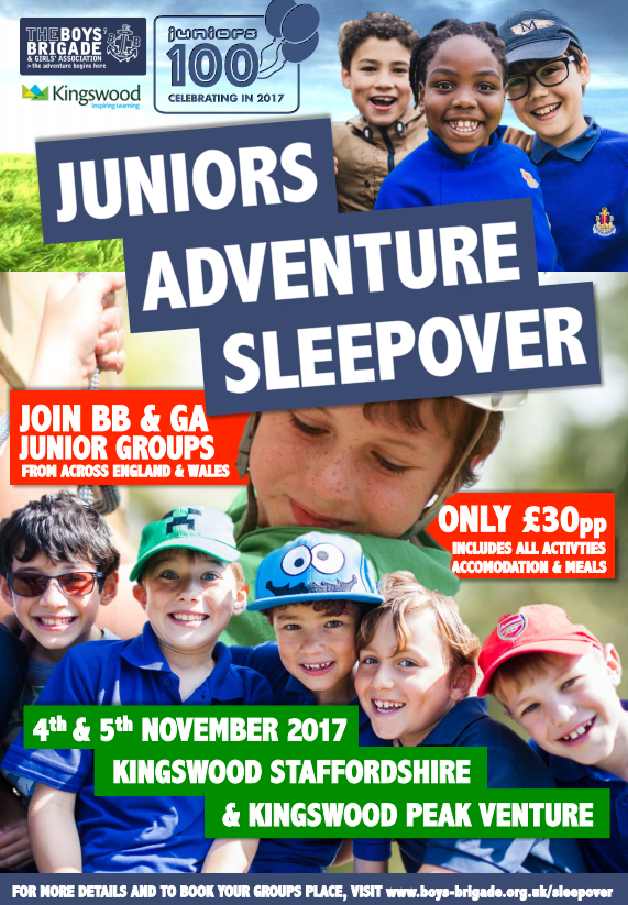 JUNIORS ADVENTURE SLEEPOVER - The Boys Brigade