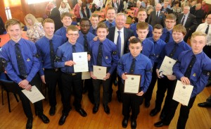 Sir Alex Ferguson CBE was the guest of honour at the Aberdeen and District Ballalion The Boys' Brigade Queen's Badge and President's Badge awards evening. Pictured is Sir Alex is pictured with those that received the Presidents Badge Picture by Chris Sumner Taken 30/5/16
